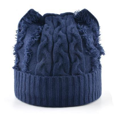 Bonnet Chat Tricot Bleu