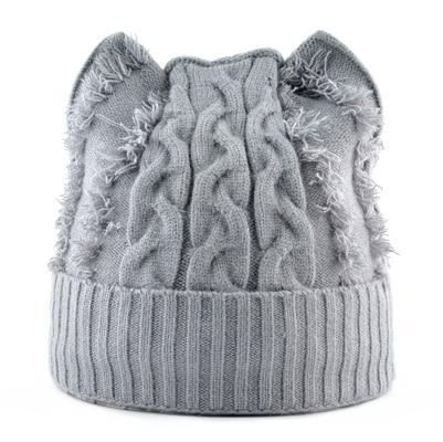 Bonnet Chat Tricot Gris