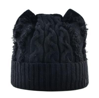 Bonnet Chat Tricot Noir
