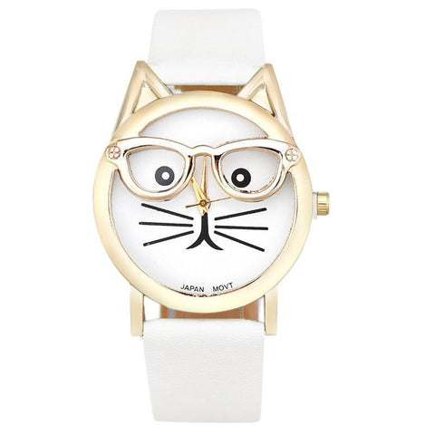 Montre Chat Lunette Blanc