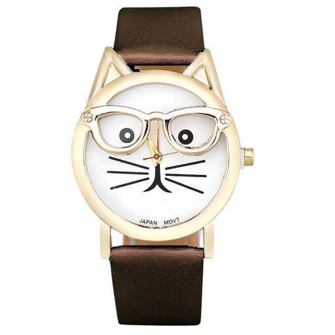 Montre Chat Lunette Marron