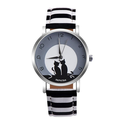 Montre Chat Moon Noir & Blanc