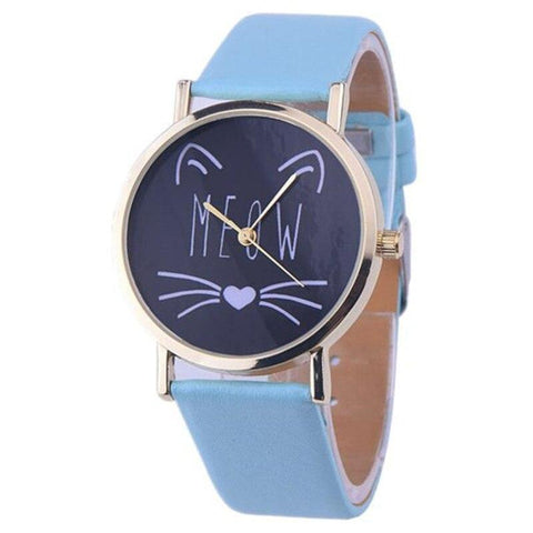 Montre Chat </br>Adulte Bleu
