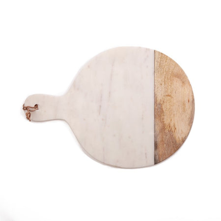 Wood + White Marble Serving Board