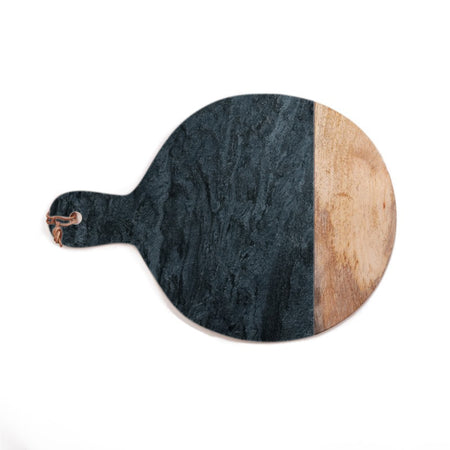 Wood + Black Marble Serving Board