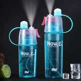 Creative plastic spray water cup outdoor sports kettle will carry a cover summer water cooling cup