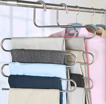 Stainless steel multi-functional s-type storage pants rack magic multi-layer hanger LY003