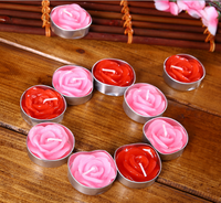 1 set of red pink candles roses candle party supplies for Valentine's Day party decoration