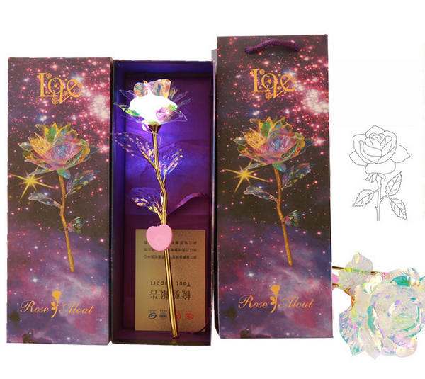 Valentine's Day Gift 24K Gold Foil Glowing Rose