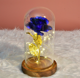 Glass cover rose flower decoration, glowing rose flower