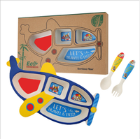 Bamboo fiber creative children's tableware set