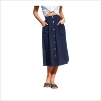 Four-color-breasted loose pocket skirt