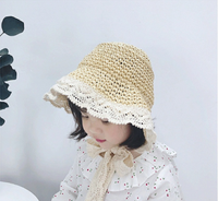 Summer tide children lace lace raffia hat