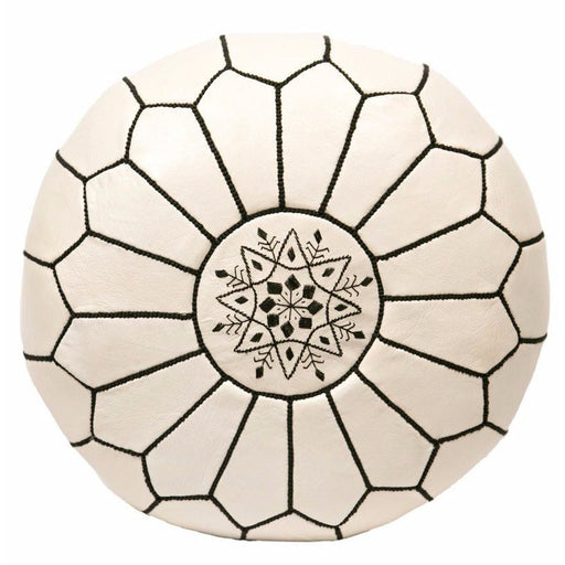 Moroccan Leather Pouf in White & black stitching