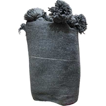 Moroccan PomPom premium Wool blanket or throw in Charcoal Grey