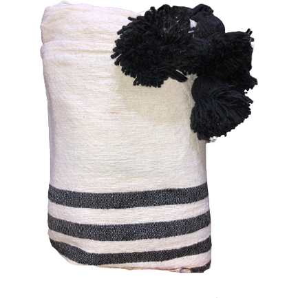 Moroccan PomPom premium Wool blanket or throw in Charcoal Grey stripes