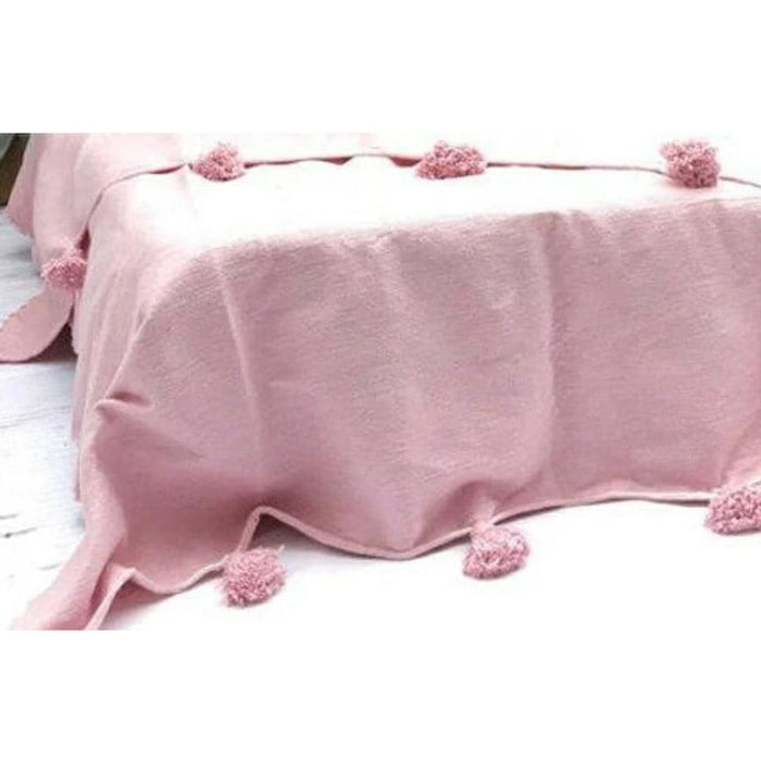 Pom Pom premium Wool blanket or throw in Pink