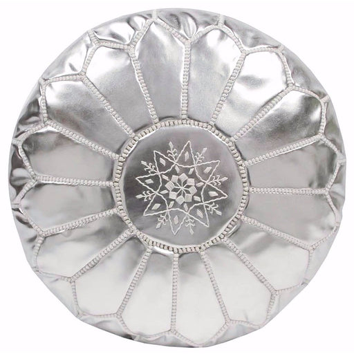 Moroccan Leather Pouf in Silver