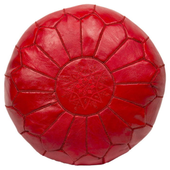 Moroccan Leather Pouf in Red