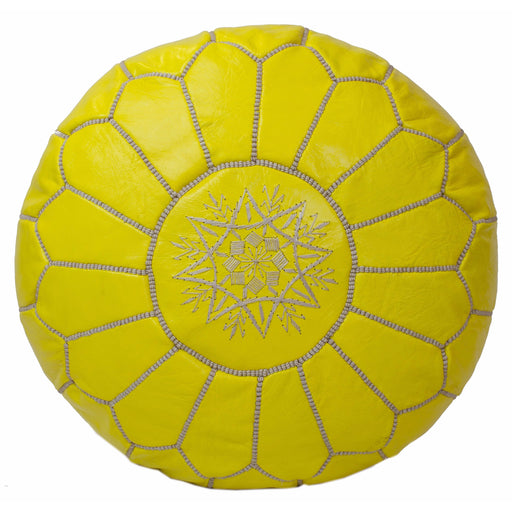 Moroccan Leather Pouf in Yellow