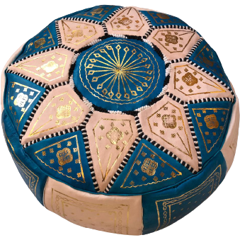 Moroccan Leather Pouf in Blue & Gold