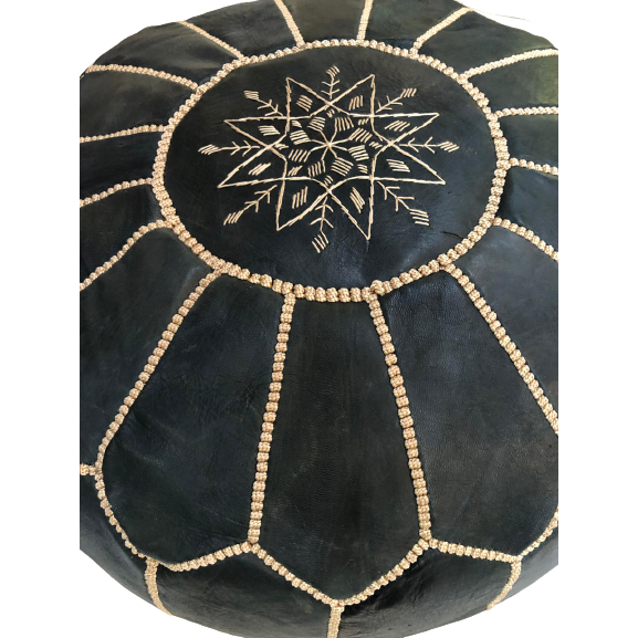 Moroccan Leather Pouf in Dark Blue/Black