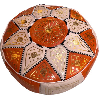 Moroccan Leather Pouf in Orange & Gold