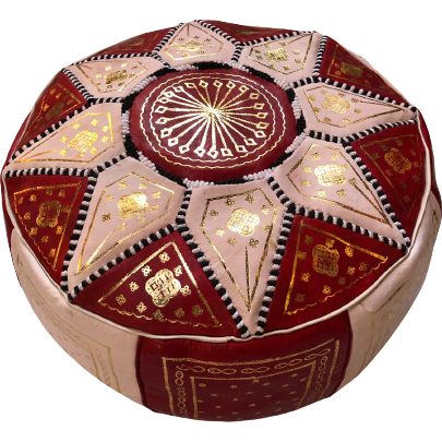 Moroccan Leather Pouf in Red & Gold