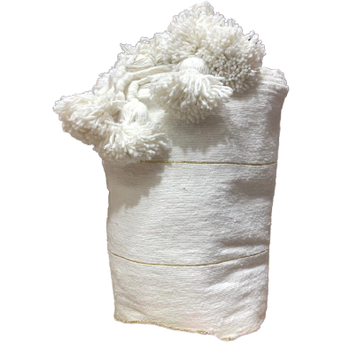 Moroccan PomPom premium Wool blanket or throw in Off White