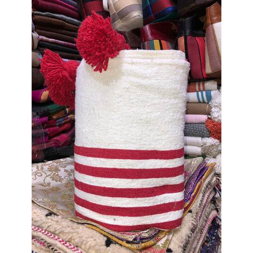 Moroccan PomPom premium Wool blanket or throw in Red stripes