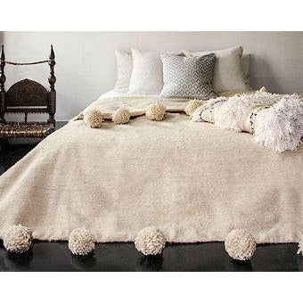 Pom Pom premium Wool blanket or throw in Camel