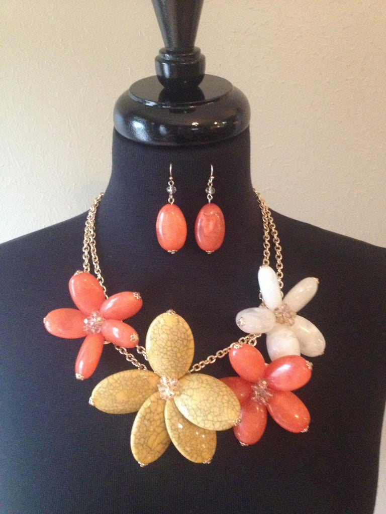 Coral, White & Yellow Big Flower Necklace w/Earrings