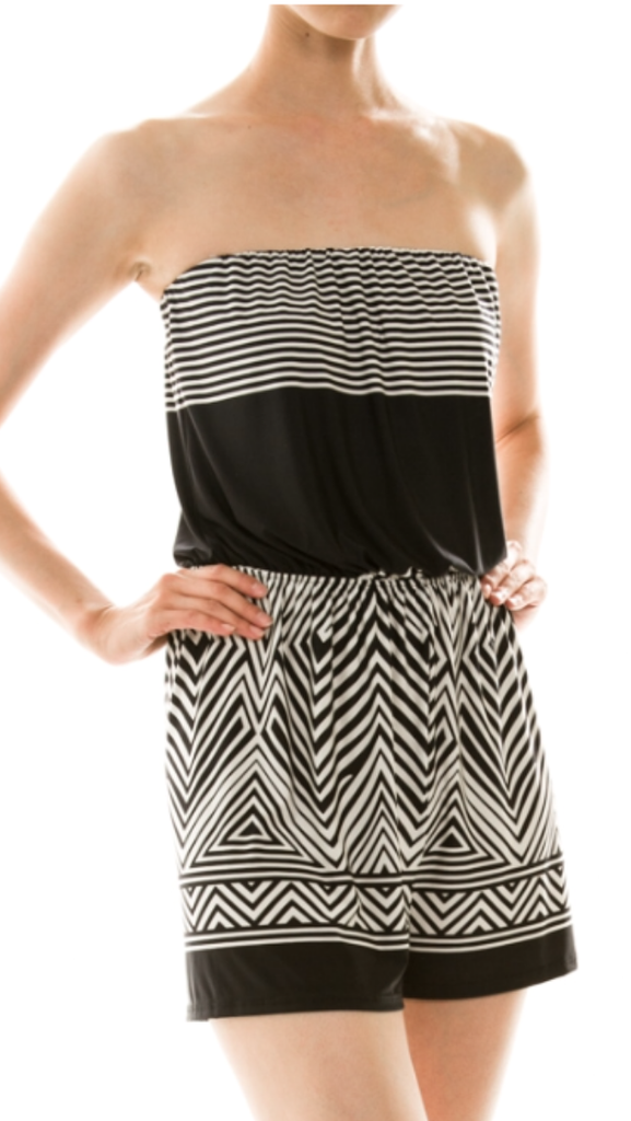 Strapless Chevron Jumpsuit