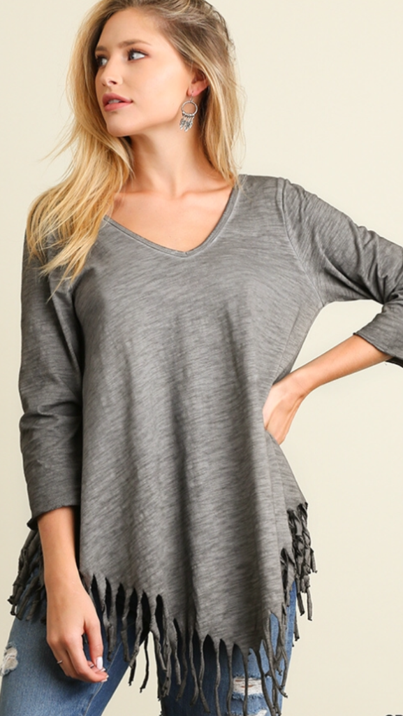 Double V neck with Fringe Top Grey
