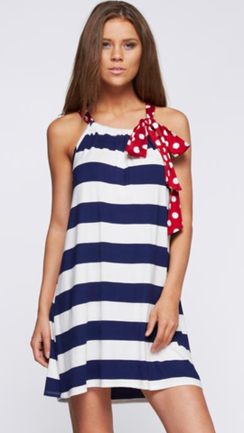 Polka Dots Bow Tie Neck Striped Dress