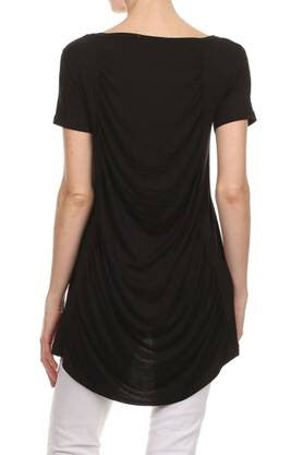 Back Draped Top Black