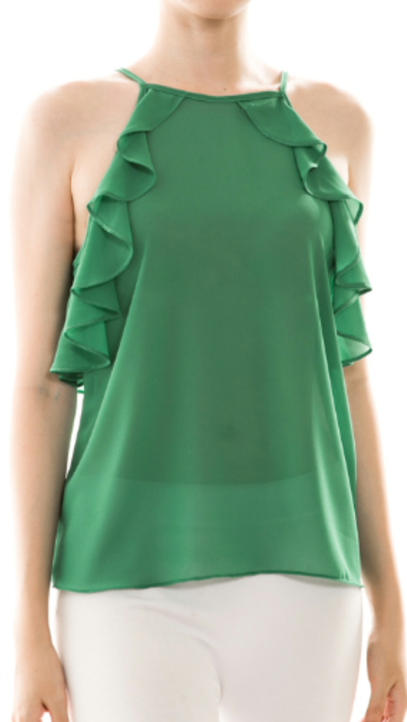 Solid Chiffon Ruffle Top Green
