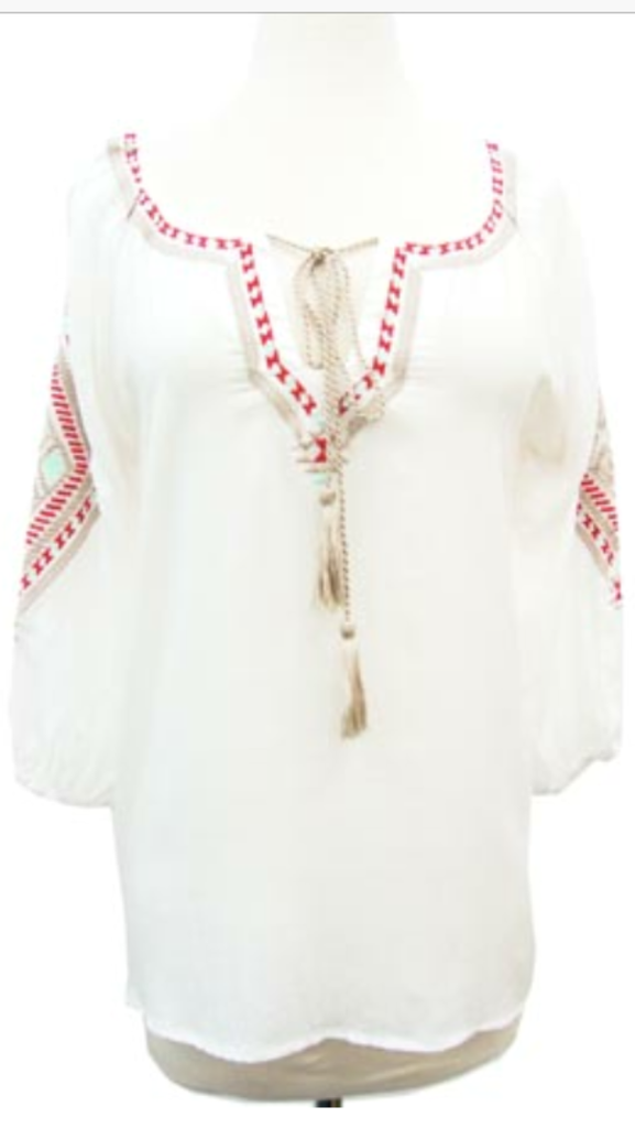 Embroidered Top Ivory/Khaki
