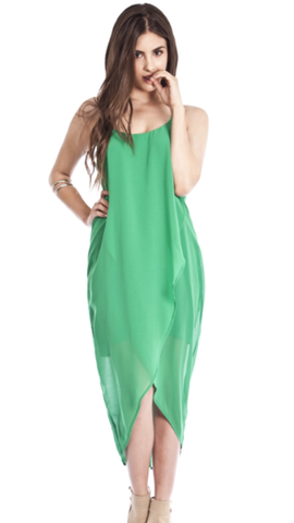 Sleeveless High Low Maxi Dress Kelly Green