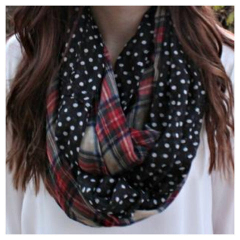 Plaid Black Polka Dot Infinity Scarf