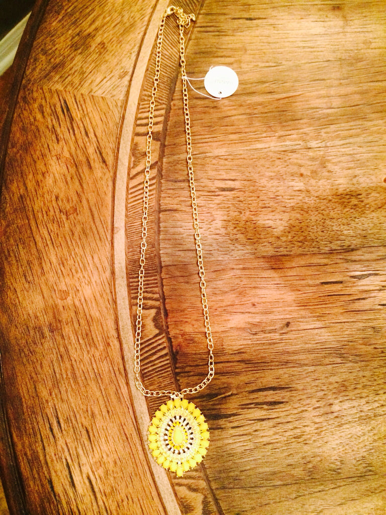 Yellow Stone Drop Necklace