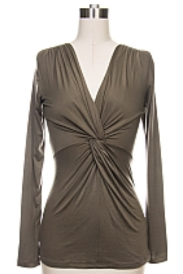 Ruched Detail Shirt Olive