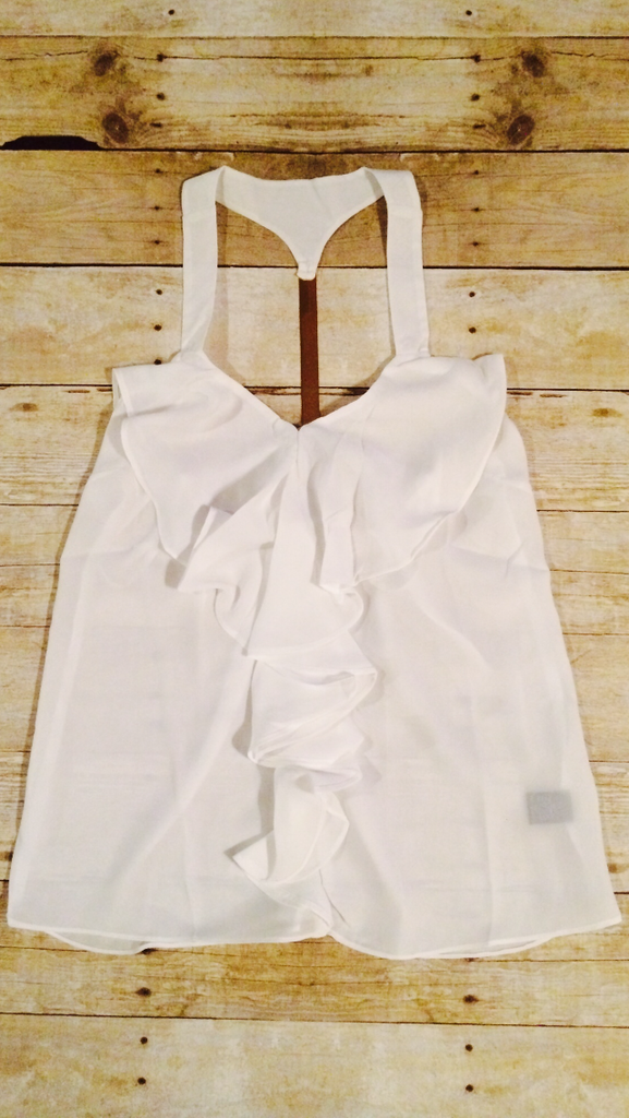White Ruffle Top With Gold Piece