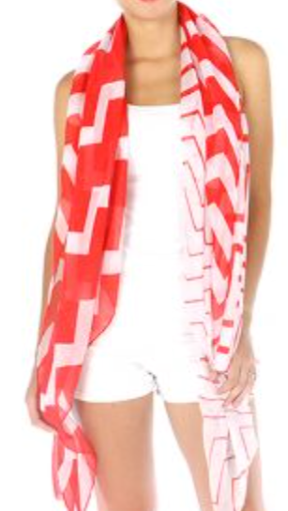 Chevron Scarf Red
