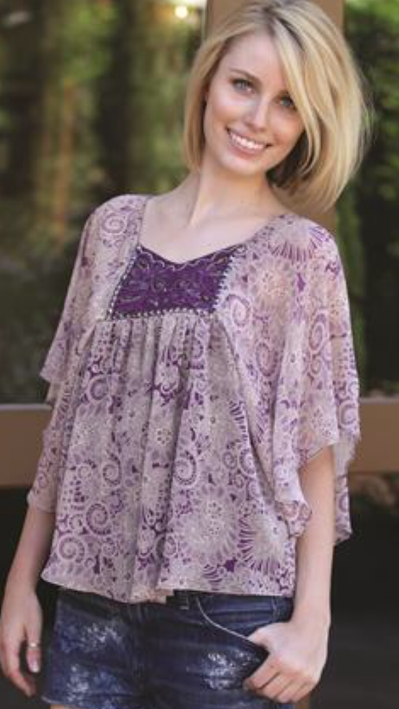 Purple Paisley Embellished Top