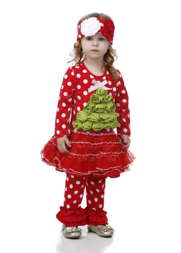 Christmas Rosette Tree Dress Set