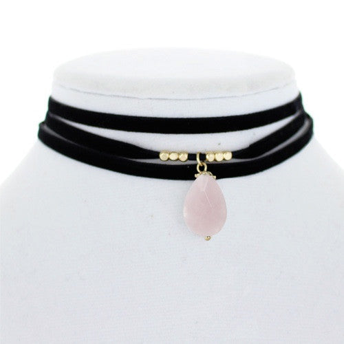 Velour Layered choker w/stone Rose Quartz