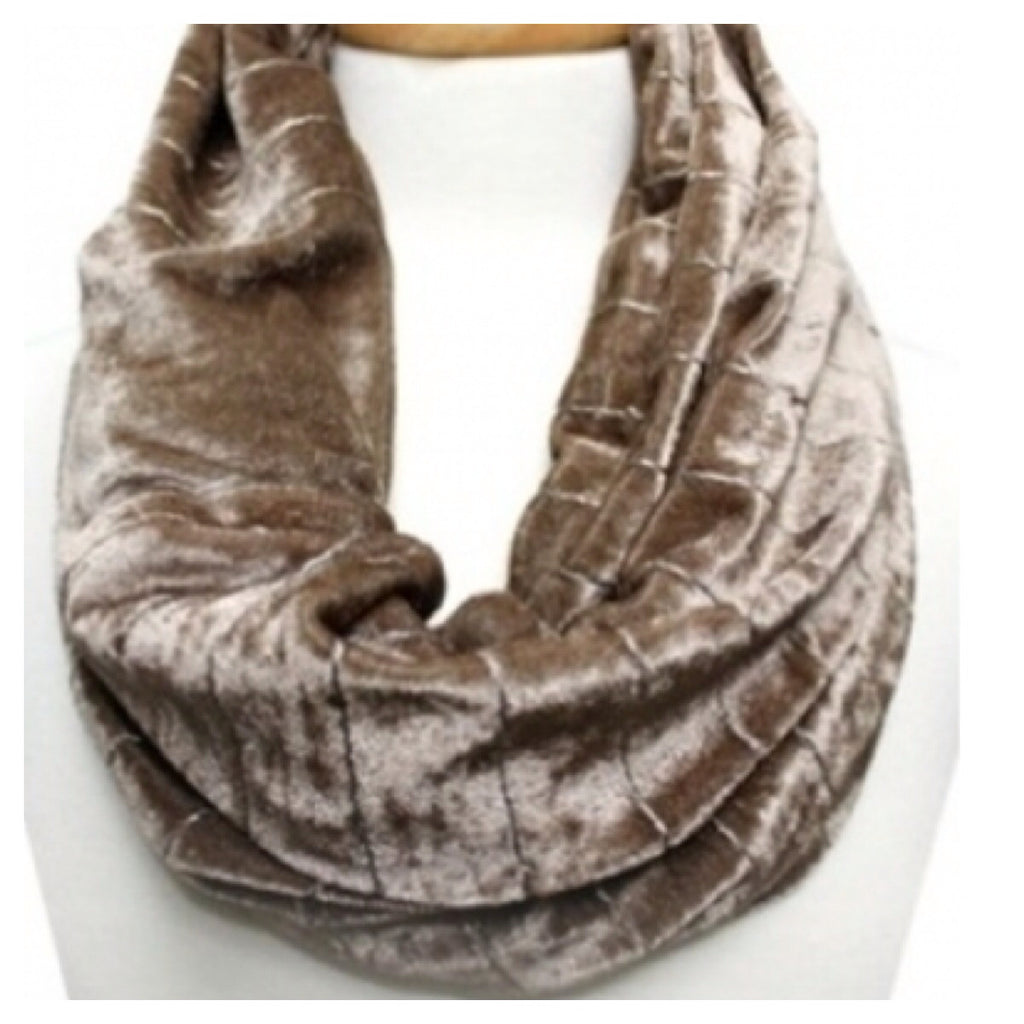 Velvet Infinity Scarf Taupe