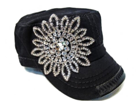 Bling Bling Flower Hand Detail Stitched Cadet Hat Black