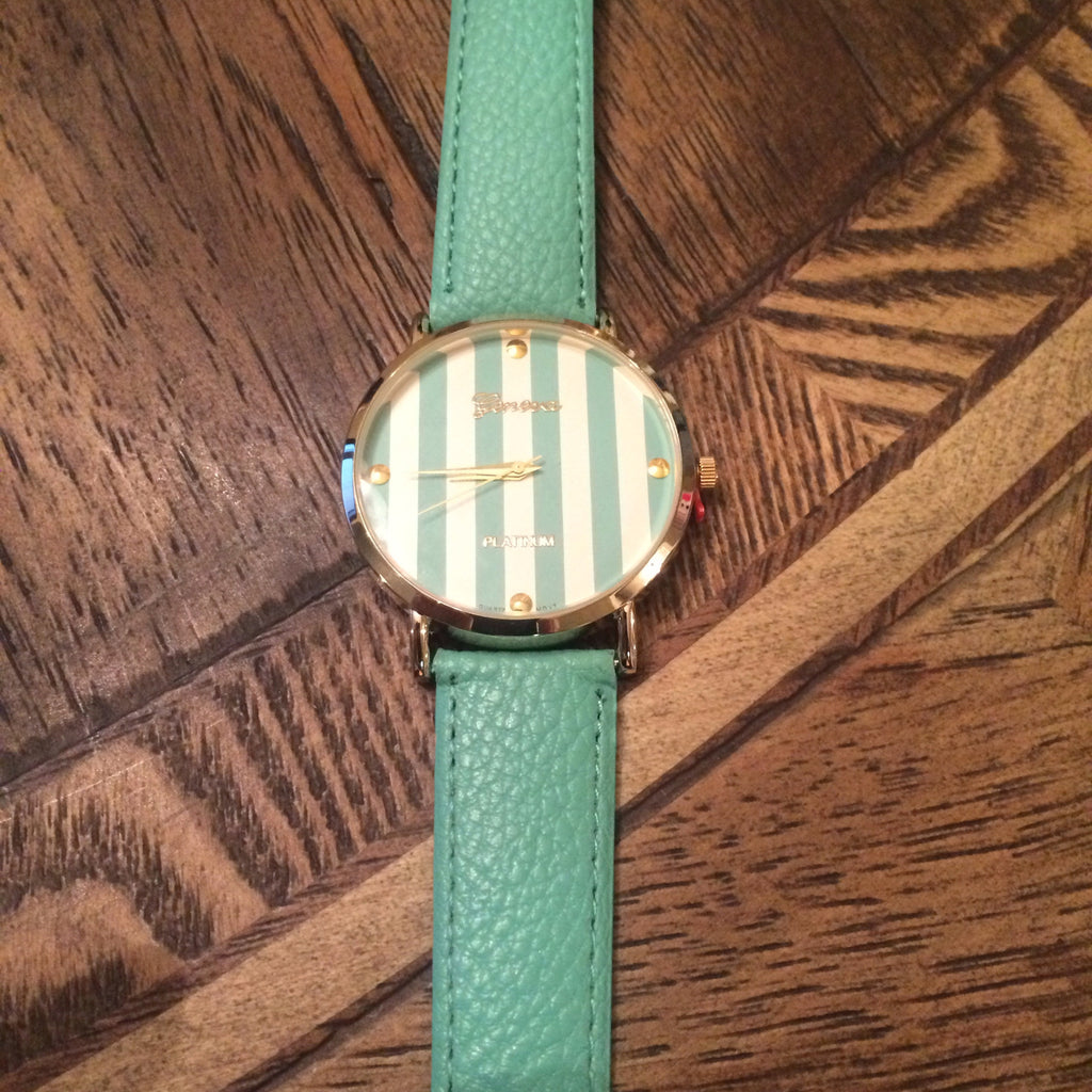 Tiffany Blue Stripe Face Watch